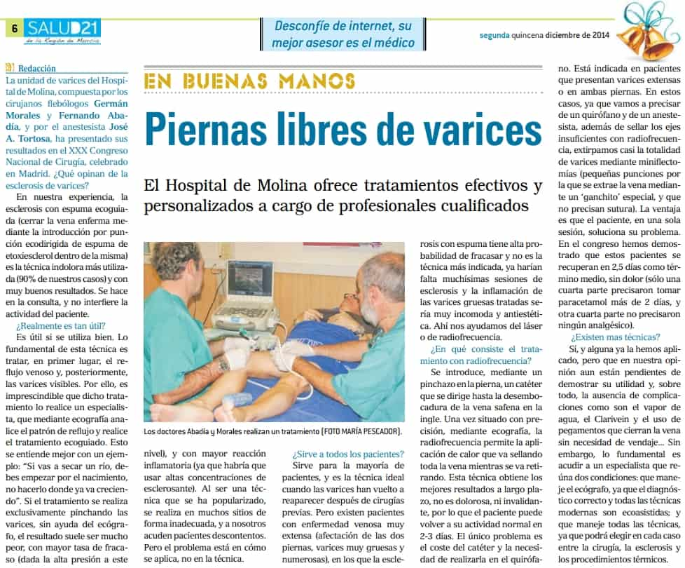 Piernas libres de varices.  Salud21 murcia dic-14-2014