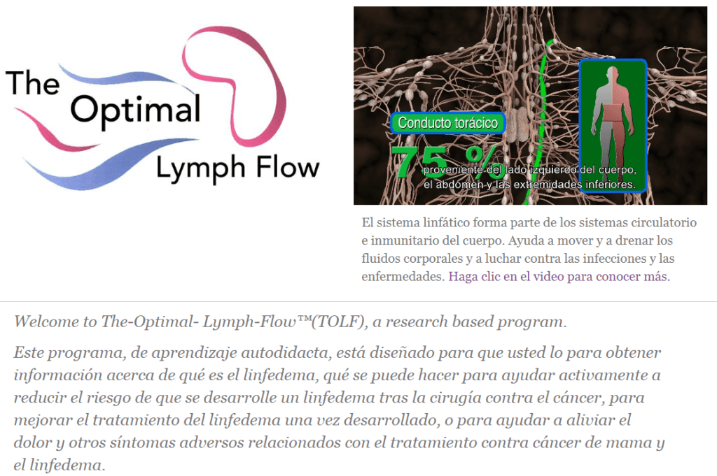 the optimal lymph flow--Web Linfedema del cáncer de mama.